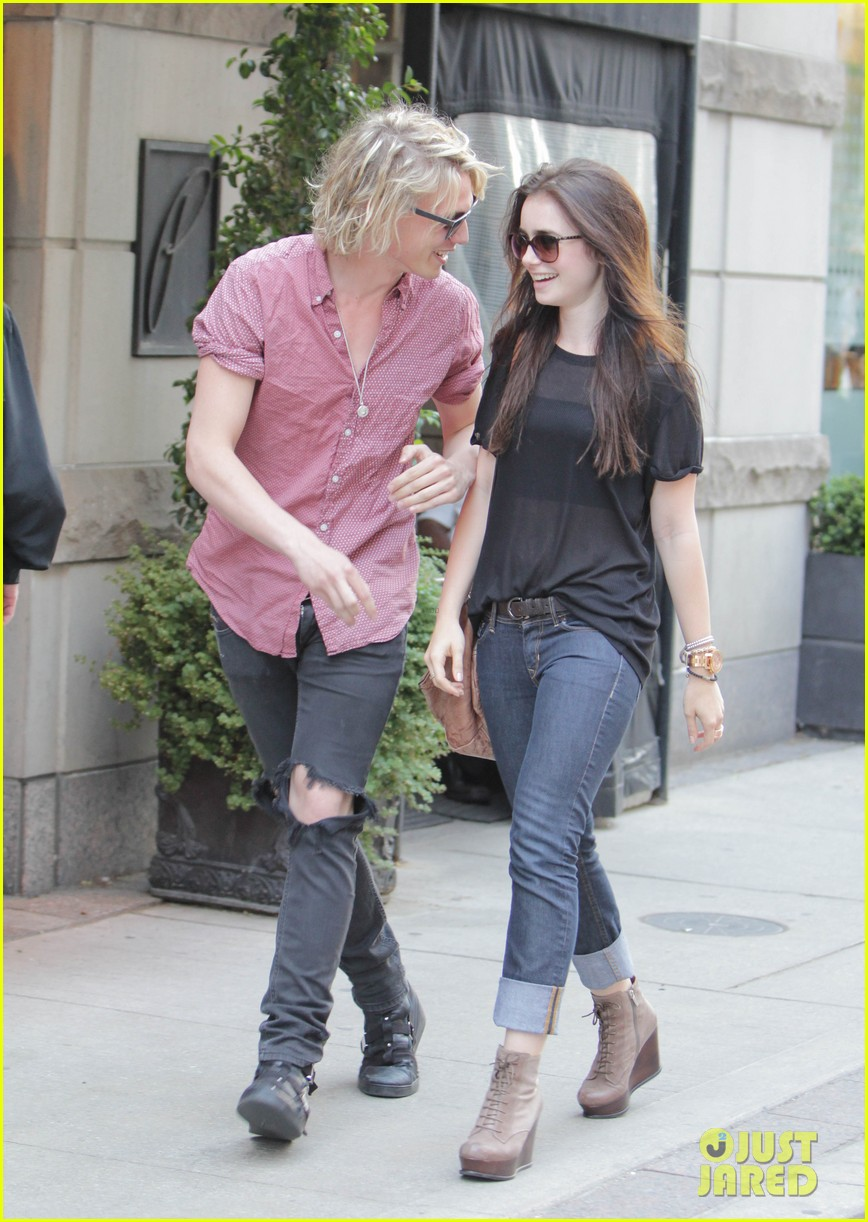 Lilly Collins And Jamie Campbell Bower Go For A Romantic Stroll in    Jamie Campbell Bower And Lily Collins