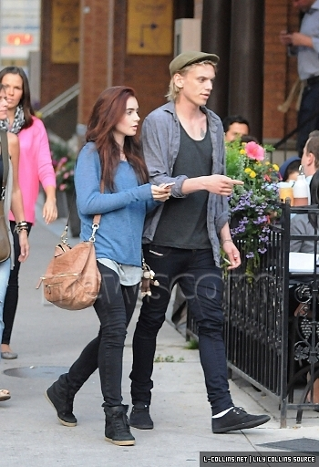 First Look Lily Collins Sporting Red Hair Tmi Source
