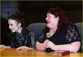 Cassandra Clare (with special guest Lily Collins) at a signing for 'Clockwork Princess' in March 2013.