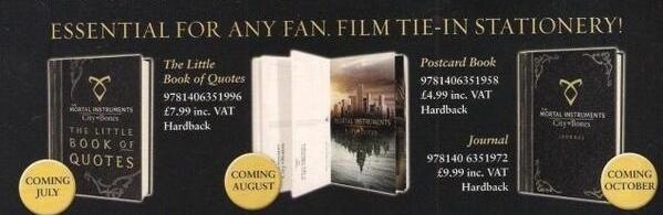 Merchandise Release Dates For Mortal Instruments Journal