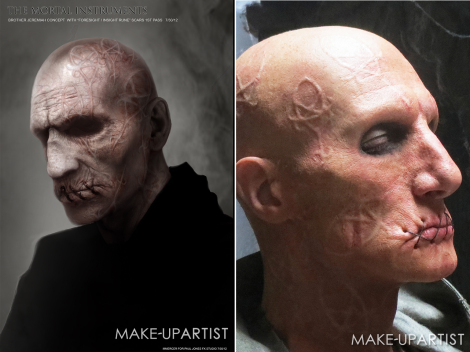 Left: Concept art; Right: Practical make-up