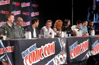 """SHADOWHUNTERS - The cast and creators of ABC Family's """"Shadowhunters"""" appear at New York Comic-Con on October 10, 2015 to discuss the new series. """"Shadowhunters"""" premieres Tuesday, Jan. 12 at 9 p.m. ET on ABC Family. (ABC Family/Lou Rocco) MCG, ED DECTER, ALBERTO ROSENDE, DOMINIC SHERWOOD, KATHERINE MCNAMARA, EMERAUDE TOUBIA, MATTHEW DADDARIO, HARRY SHUM JR., ISAIAH MUSTAFA"""