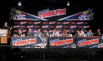 """SHADOWHUNTERS - The cast and creators of ABC Family's """"Shadowhunters"""" appear at New York Comic-Con on October 10, 2015 to discuss the new series. """"Shadowhunters"""" premieres Tuesday, Jan. 12 at 9 p.m. ET on ABC Family. (ABC Family/Lou Rocco) DAMIAN HOLBROOK, CASSANDRA CLARE, MCG, ED DECTER, ALBERTO ROSENDE, DOMINIC SHERWOOD, KATHERINE MCNAMARA, EMERAUDE TOUBIA, MATTHEW DADDARIO, HARRY SHUM JR., ISAIAH MUSTAFA"""