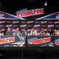 "SHADOWHUNTERS - The cast and creators of ABC Family's ""Shadowhunters"" appear at New York Comic-Con on October 10, 2015 to discuss the new series. ""Shadowhunters"" premieres Tuesday, Jan. 12 at 9 p.m. ET on ABC Family. (ABC Family/Lou Rocco) DAMIAN HOLBROOK, CASSANDRA CLARE, MCG, ED DECTER, ALBERTO ROSENDE, DOMINIC SHERWOOD, KATHERINE MCNAMARA, EMERAUDE TOUBIA, MATTHEW DADDARIO, HARRY SHUM JR., ISAIAH MUSTAFA"