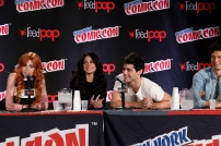 """SHADOWHUNTERS - The cast and creators of ABC Family's """"Shadowhunters"""" appear at New York Comic-Con on October 10, 2015 to discuss the new series. """"Shadowhunters"""" premieres Tuesday, Jan. 12 at 9 p.m. ET on ABC Family. (ABC Family/Lou Rocco) KATHERINE MCNAMARA, EMERAUDE TOUBIA, MATTHEW DADDARIO, HARRY SHUM JR."""