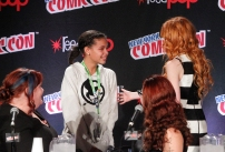 """SHADOWHUNTERS - The cast and creators of ABC Family's """"Shadowhunters"""" appear at New York Comic-Con on October 10, 2015 to discuss the new series. """"Shadowhunters"""" premieres Tuesday, Jan. 12 at 9 p.m. ET on ABC Family. (ABC Family/Lou Rocco) CASSANDRA CLARE, FANS, KATHERINE MCNAMARA"""