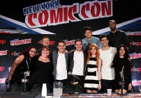 "SHADOWHUNTERS - The cast and creators of ABC Family's ""Shadowhunters"" appear at New York Comic-Con on October 10, 2015 to discuss the new series. ""Shadowhunters"" premieres Tuesday, Jan. 12 at 9 p.m. ET on ABC Family. (ABC Family/Lou Rocco) FAN, CASSANDRA CLARE, MCG, ALBERTO ROSENDE, DOMINIC SHERWOOD, HARRY SHUM JR., KATHERINE MCNAMARA, MATTHEW DADDARIO, ISAIAH MUSTAFA, EMERAUDE TOUBIA"