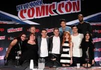 "SHADOWHUNTERS - The cast and creators of ABC Family's ""Shadowhunters"" appear at New York Comic-Con on October 10, 2015 to discuss the new series. ""Shadowhunters"" premieres Tuesday, Jan. 12 at 9 p.m. ET on ABC Family. (ABC Family/Lou Rocco) FAN, CASSANDRA CLARE, MCG, ALBERTO ROSENDE, DOMINIC SHERWOOD, HARRY SHUM JR., KATHERINE MCNAMARA, MATTHEW DADDARIO, ISAIAH MUSTAFA, EMERAUDE TOUBIA"