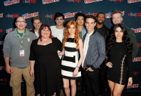 """SHADOWHUNTERS - The cast and creators of ABC Family's """"Shadowhunters"""" appear at New York Comic-Con on October 10, 2015 to discuss the new series. """"Shadowhunters"""" premieres Tuesday, Jan. 12 at 9 p.m. ET on ABC Family. (ABC Family/Lou Rocco) ED DECTER, DOMINIC SHERWOOD, CASSANDRA CLARE, MATTHEW DADDARIO, KATHERINE MCNAMARA, HARRY SHUM JR., ALBERTO ROSENDE, ISAIAH MUSTAFA, MCG, EMERAUDE TOUBIA"""