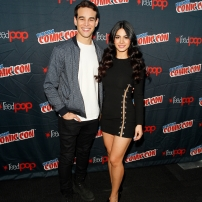 "SHADOWHUNTERS - The cast and creators of ABC Family's ""Shadowhunters"" appear at New York Comic-Con on October 10, 2015 to discuss the new series. ""Shadowhunters"" premieres Tuesday, Jan. 12 at 9 p.m. ET on ABC Family. (ABC Family/Lou Rocco) ALBERTO ROSENDE, EMERAUDE TOUBIA"