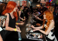 """SHADOWHUNTERS - The cast and creators of ABC Family's """"Shadowhunters"""" appear at New York Comic-Con on October 10, 2015 to discuss the new series. """"Shadowhunters"""" premieres Tuesday, Jan. 12 at 9 p.m. ET on ABC Family. (ABC Family/Lou Rocco) FANS, KATHERINE MCNAMARA"""