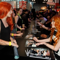 "SHADOWHUNTERS - The cast and creators of ABC Family's ""Shadowhunters"" appear at New York Comic-Con on October 10, 2015 to discuss the new series. ""Shadowhunters"" premieres Tuesday, Jan. 12 at 9 p.m. ET on ABC Family. (ABC Family/Lou Rocco) FANS, KATHERINE MCNAMARA"