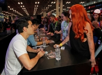 """SHADOWHUNTERS - The cast and creators of ABC Family's """"Shadowhunters"""" appear at New York Comic-Con on October 10, 2015 to discuss the new series. """"Shadowhunters"""" premieres Tuesday, Jan. 12 at 9 p.m. ET on ABC Family. (ABC Family/Lou Rocco) ALBERTO ROSENDE, FANS"""