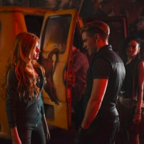 "SHADOWHUNTERS - ""The Mortal Cup"" - One young woman realizes how dark the city can really be when she learns the truth about her past in the series premiere of ""Shadowhunters"" on Tuesday, January 12th at 9:00 - 10:00 PM ET/PT. ABC Family is becoming Freeform in January 2016. Based on the bestselling young adult fantasy book series The Mortal Instruments by Cassandra Clare, ""Shadowhunters"" follows Clary Fray, who finds out on her birthday that she is not who she thinks she is but rather comes from a long line of Shadowhunters - human-angel hybrids who hunt down demons. Now thrown into the world of demon hunting after her mother is kidnapped, Clary must rely on the mysterious Jace and his fellow Shadowhunters Isabelle and Alec to navigate this new dark world. With her best friend Simon in tow, Clary must now live among faeries, warlocks, vampires and werewolves to find answers that could help her find her mother. Nothing is as it seems, including her close family friend Luke who knows more than he is letting on, as well as the enigmatic warlock Magnus Bane who could hold the key to unlocking Clary's past. (ABC Family/John Medland) KATHERINE MCNAMARA, DOMINIC SHERWOOD,"