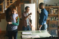 """SHADOWHUNTERS - """"The Mortal Cup"""" - One young woman realizes how dark the city can really be when she learns the truth about her past in the series premiere of """"Shadowhunters"""" on Tuesday, January 12th at 9:00 - 10:00 PM ET/PT. ABC Family is becoming Freeform in January 2016. Based on the bestselling young adult fantasy book series The Mortal Instruments by Cassandra Clare, """"Shadowhunters"""" follows Clary Fray, who finds out on her birthday that she is not who she thinks she is but rather comes from a long line of Shadowhunters - human-angel hybrids who hunt down demons. Now thrown into the world of demon hunting after her mother is kidnapped, Clary must rely on the mysterious Jace and his fellow Shadowhunters Isabelle and Alec to navigate this new dark world. With her best friend Simon in tow, Clary must now live among faeries, warlocks, vampires and werewolves to find answers that could help her find her mother. Nothing is as it seems, including her close family friend Luke who knows more than he is letting on, as well as the enigmatic warlock Magnus Bane who could hold the key to unlocking Clary's past. (ABC Family/John Medland) KATHERINE MCNAMARA, ALBERTO ROSENDE, ISAIAH MUSTAFA"""