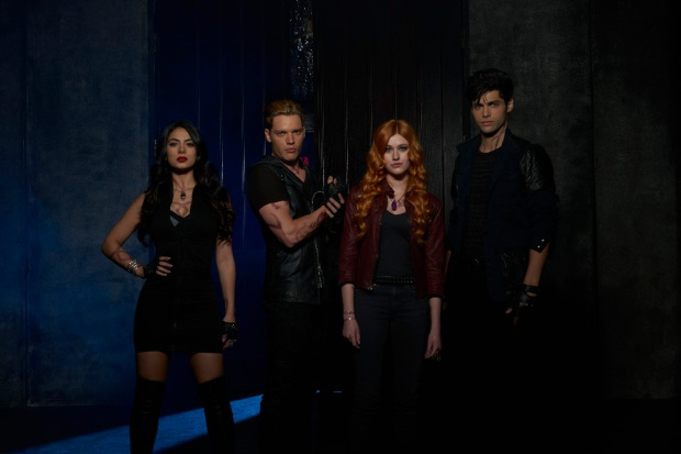 "SHADOWHUNTERS - ABC Family's ""Shadowhunters"" stars Emeraude Toubia as Isabella Lightwood, Dominic Sherwood as Jace Wayland, Katherine McNamara as Clary Fray and Matthew Daddario as Alec Lightwood. (ABC Family/Bob D'Amico)"