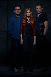 "SHADOWHUNTERS - ABC Family's ""Shadowhunters"" stars Alberto Rosende as Simon Lewis, Katherine McNamara as Clary Fray and Dominic Sherwood as Jace Wayland. (ABC Family/Bob D'Amico)"