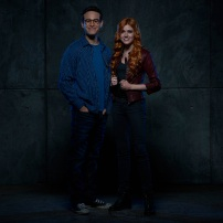 "SHADOWHUNTERS - ABC Family's ""Shadowhunters"" stars Alberto Rosende as Simon Lewis and Katherine McNamara as Clary Fray. (ABC Family/Bob D'Amico)"