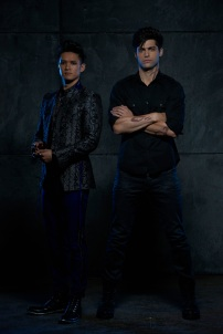 "SHADOWHUNTERS - ABC Family's ""Shadowhunters"" stars Harry Shum Jr. as Magnus Bane and Matthew Daddario as Alec Lightwood. (ABC Family/Bob D'Amico)"