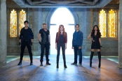 "SHADOWHUNTERS - ABC Family's ""Shadowhunters"" stars Matthew Daddario as Alec Lightwood, Dominic Sherwood as Jace Wayland, Katherine McNamara as Clary Fray, Alberto Rosende as Simon Lewis and Emeraude Toubia as Isabelle Lightwood. (ABC Family/Bob D'Amico)"