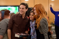 SHADOWHUNTERS - 12/5/15 - Eleven lucky SHADOWHUNTERS fans and their guests were flown from around the country to meet author Cassandra Clare and the cast of the ABC Family series during a Pop-Up Santa surprise in New York City. ABC FAMILY is becoming FREEFORM in January 2016. (ABC FAMILY/ Lorenzo Bevilaqua) ALBERTO ROSENDE, KATHERINE MCNAMARA, FANS