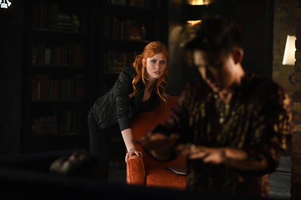 "SHADOWHUNTERS - ""Of Men and Angels"" - Magnus and Luke reveal Clary's past in ""Of Men and Angels,"" an all-new episode of ""Shadowhunters,"" airing Tuesday, February 16th at 9:00 – 10:00 p.m., EST/PST on Freeform, the new name for ABC Family. (Freeform/John Medland) KATHERINE MCNAMARA, HARRY SHUM JR."