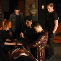 "SHADOWHUNTERS - ""Of Men and Angels"" - Magnus and Luke reveal Clary's past in ""Of Men and Angels,"" an all-new episode of ""Shadowhunters,"" airing Tuesday, February 16th at 9:00 – 10:00 p.m., EST/PST on Freeform, the new name for ABC Family. (Freeform/John Medland) KATHERINE MCNAMARA, ALBERTO ROSENDE, ISAIAH MUSTAFA, MATTHEW DADDARIO, HARRY SHUM JR., DOMINIC SHERWOOD"