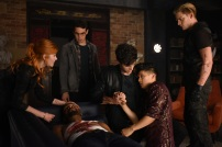 """SHADOWHUNTERS - """"Of Men and Angels"""" - Magnus and Luke reveal Clary's past in """"Of Men and Angels,"""" an all-new episode of """"Shadowhunters,"""" airing Tuesday, February 16th at 9:00 – 10:00 p.m., EST/PST on Freeform, the new name for ABC Family. (Freeform/John Medland) KATHERINE MCNAMARA, ISAIAH MUSTAFA, ALBERTO ROSENDE, MATTHEW DADDARIO, HARRY SHUM JR., DOMINIC SHERWOOD"""
