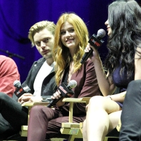 """SHADOWHUNTERS - The cast and producers of Freeform's """"Shadowhunters,"""" are featured at the COMIC CON Convention at the Jacob Javits Center in New York City on October 8, 2016. (Freeform/Lou Rocco) DOMINIC SHERWOOD, KATHERINE MCNAMARA, EMERAUDE TOUBIA"""
