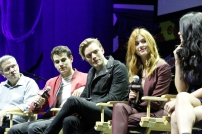 """SHADOWHUNTERS - The cast and producers of Freeform's """"Shadowhunters,"""" are featured at the COMIC CON Convention at the Jacob Javits Center in New York City on October 8, 2016. (Freeform/Lou Rocco) TODD SLAVKIN (EXECUTIVE PRODUCER), ALBERTO ROSENDE, DOMINIC SHERWOOD, KATHERINE MCNAMARA, EMERAUDE TOUBIA"""