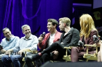 """SHADOWHUNTERS - The cast and producers of Freeform's """"Shadowhunters,"""" are featured at the COMIC CON Convention at the Jacob Javits Center in New York City on October 8, 2016. (Freeform/Lou Rocco) DARREN SWIMMER (EXECUTIVE PRODUCER), TODD SLAVKIN (EXECUTIVE PRODUCER), ALBERTO ROSENDE, DOMINIC SHERWOOD, KATHERINE MCNAMARA"""
