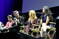 """SHADOWHUNTERS - The cast and producers of Freeform's """"Shadowhunters,"""" are featured at the COMIC CON Convention at the Jacob Javits Center in New York City on October 8, 2016. (Freeform/Lou Rocco) ALBERTO ROSENDE, DOMINIC SHERWOOD, KATHERINE MCNAMARA, EMERAUDE TOUBIA"""