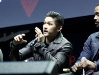 "SHADOWHUNTERS - The cast and producers of Freeform's ""Shadowhunters,"" are featured at the COMIC CON Convention at the Jacob Javits Center in New York City on October 8, 2016. (Freeform/Lou Rocco) HARRY SHUM JR., ISAIAH MUSTAFA"