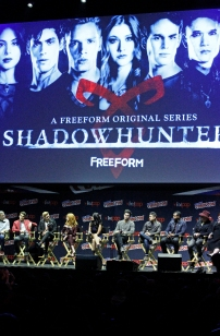 "SHADOWHUNTERS - The cast and producers of Freeform's ""Shadowhunters,"" are featured at the COMIC CON Convention at the Jacob Javits Center in New York City on October 8, 2016. (Freeform/Lou Rocco) TODD SLAVKIN (EXECUTIVE PRODUCER), ALBERTO ROSENDE, DOMINIC SHERWOOD, KATHERINE MCNAMARA, EMERAUDE TOUBIA, MATTHEW DADDARIO, HARRY SHUM JR., ISAIAH MUSTAFA, MCG"