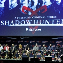 """SHADOWHUNTERS - The cast and producers of Freeform's """"Shadowhunters,"""" are featured at the COMIC CON Convention at the Jacob Javits Center in New York City on October 8, 2016. (Freeform/Lou Rocco) TODD SLAVKIN (EXECUTIVE PRODUCER), ALBERTO ROSENDE, DOMINIC SHERWOOD, KATHERINE MCNAMARA, EMERAUDE TOUBIA, MATTHEW DADDARIO, HARRY SHUM JR., ISAIAH MUSTAFA, MCG"""