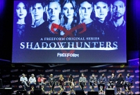 "SHADOWHUNTERS - The cast and producers of Freeform's ""Shadowhunters,"" are featured at the COMIC CON Convention at the Jacob Javits Center in New York City on October 8, 2016. (Freeform/Lou Rocco) DARREN SWIMMER (EXECUTIVE PRODUCER), TODD SLAVKIN (EXECUTIVE PRODUCER), ALBERTO ROSENDE, DOMINIC SHERWOOD, KATHERINE MCNAMARA, EMERAUDE TOUBIA, MATTHEW DADDARIO, HARRY SHUM JR., ISAIAH MUSTAFA, MCG, CASSANDRA CLARE, ANDY SWIFT"