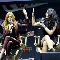 """SHADOWHUNTERS - The cast and producers of Freeform's """"Shadowhunters,"""" are featured at the COMIC CON Convention at the Jacob Javits Center in New York City on October 8, 2016. (Freeform/Lou Rocco) KATHERINE MCNAMARA, EMERAUDE TOUBIA"""