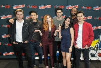 "SHADOWHUNTERS - The cast and producers of Freeform's ""Shadowhunters,"" are featured at the COMIC CON Convention at the Jacob Javits Center in New York City on October 8, 2016. (ABC/Freeform) DOMINIC SHERWOOD, HARRY SHUM JR., KATHERINE MCNAMARA, MATTHEW DADDARIO, EMERAUDE TOUBIA, ISAIAH MUSTAFA, ALBERTO ROSENDE"