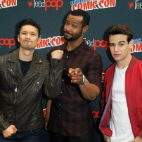 """SHADOWHUNTERS - The cast and producers of Freeform's """"Shadowhunters,"""" are featured at the COMIC CON Convention at the Jacob Javits Center in New York City on October 8, 2016. (ABC/Lou Rocco) HARRY SHUM JR., ISAIAH MUSTAFA, ALBERTO ROSENDE"""