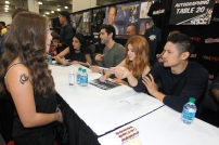 "SHADOWHUNTERS - The cast and producers of Freeform's ""Shadowhunters,"" are featured at the COMIC CON Convention at the Jacob Javits Center in New York City on October 8, 2016. (Freeform/Lou Rocco) FANS, EMERAUDE TOUBIA, MATTHEW DADDARIO, KATHERINE MCNAMARA, HARRY SHUM JR."