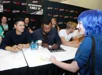 """SHADOWHUNTERS - The cast and producers of Freeform's """"Shadowhunters,"""" are featured at the COMIC CON Convention at the Jacob Javits Center in New York City on October 8, 2016. (Freeform/Lou Rocco) FANS, HARRY SHUM JR., ISAIAH MUSTAFA"""