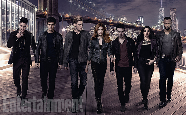 "SHADOWHUNTERS - Freeform's ""Shadowhunters"" stars Harry Shum Jr. as Magnus Bane, Matthew Daddario as Alec Lightwood, Dominic Sherwood as Jace Wayland, Katherine McNamara as Clary Fray, Alberto Rosende as Simon Lewis, Emeraude Toubia as Isabelle Lightwood and Isaiah Mustafa as Luke Garroway. (Freeform/Justin Stephens)"