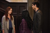 """SHADOWHUNTERS - Clary struggles to find where she belongs, while Simon seeks Magnus' help in """"A Door Into the Dark,"""" an all new episode of """"Shadowhunters,"""" airing MONDAY, JANUARY 9 (8:00 – 9:00 PM EDT) on Freeform. (Freeform/John Medland) MAXIM ROY, MATTHEW DADDARIO"""