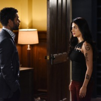 "SHADOWHUNTERS - Everyone is on the hunt for Jace, but all for their own reasons in ""Parabatai Lost,"" an all new episode of ""Shadowhunters,"" airing MONDAY, JANUARY 16 (8:00 – 9:00 PM EDT) on Freeform. (Freeform/John Medland) NICK SAGAR, EMERAUDE TOUBIA"