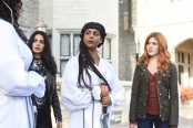 """SHADOWHUNTERS - """"Iron Sisters"""" - Clary and Isabelle head to The Citadel looking for answers in """"Iron Sisters,"""" an all new episode of """"Shadowhunters,"""" airing MONDAY, FEBRUARY 6 (8:00 – 9:00 PM EDT) on Freeform. (Freeform/John Medland) EMERAUDE TOUBIA, FARAH MERANI, KATHERINE MCNAMARA"""