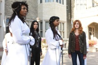 """SHADOWHUNTERS - """"Iron Sisters"""" - Clary and Isabelle head to The Citadel looking for answers in """"Iron Sisters,"""" an all new episode of """"Shadowhunters,"""" airing MONDAY, FEBRUARY 6 (8:00 – 9:00 PM EDT) on Freeform. (Freeform/John Medland) LISA BERRY, EMERAUDE TOUBIA, FARAH MERANI, KATHERINE MCNAMARA"""