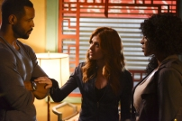 """SHADOWHUNTERS - """"How Are Thou Fallen"""" - Clary and Luke find themselves at odds over Cleo in """"How Are Thou Fallen,"""" an all new episode of """"Shadowhunters,"""" airing MONDAY, FEBRUARY 13 (8:00 – 9:00 PM EDT) on Freeform. (Freeform/John Medland) ISAIAH MUSTAFA, KATHERINE MCNAMARA, LISA BERRY"""