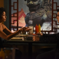 "SHADOWHUNTERS - ""How Are Thou Fallen"" - Clary and Luke find themselves at odds over Cleo in ""How Are Thou Fallen,"" an all new episode of ""Shadowhunters,"" airing MONDAY, FEBRUARY 13 (8:00 – 9:00 PM EDT) on Freeform. (Freeform/John Medland) ALISHA WAINWRIGHT, ALBERTO ROSENDE"