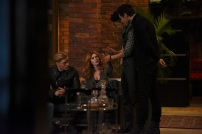 "SHADOWHUNTERS - ""Bound By Blood"" - Clary is sidelined by Iris' blood oath, while the Downworld begins to fall apart, in ""Bound By Blood,"" an all-new episode of ""Shadowhunters,"" airing MONDAY, FEBRUARY 27 (8:00 - 9:01 p.m. EST), on Freeform. (Freeform/John Medland) DOMINIC SHERWOOD, KATHERINE MCNAMARA, HARRY SHUM JR., MATTHEW DADDARIO"