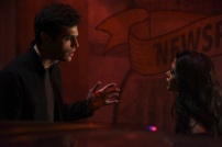 "SHADOWHUNTERS - ""Bound By Blood"" - Clary is sidelined by Iris' blood oath, while the Downworld begins to fall apart, in ""Bound By Blood,"" an all-new episode of ""Shadowhunters,"" airing MONDAY, FEBRUARY 27 (8:00 - 9:01 p.m. EST), on Freeform. (Freeform/John Medland) MATTHEW DADDARIO, EMERAUDE TOUBIA"